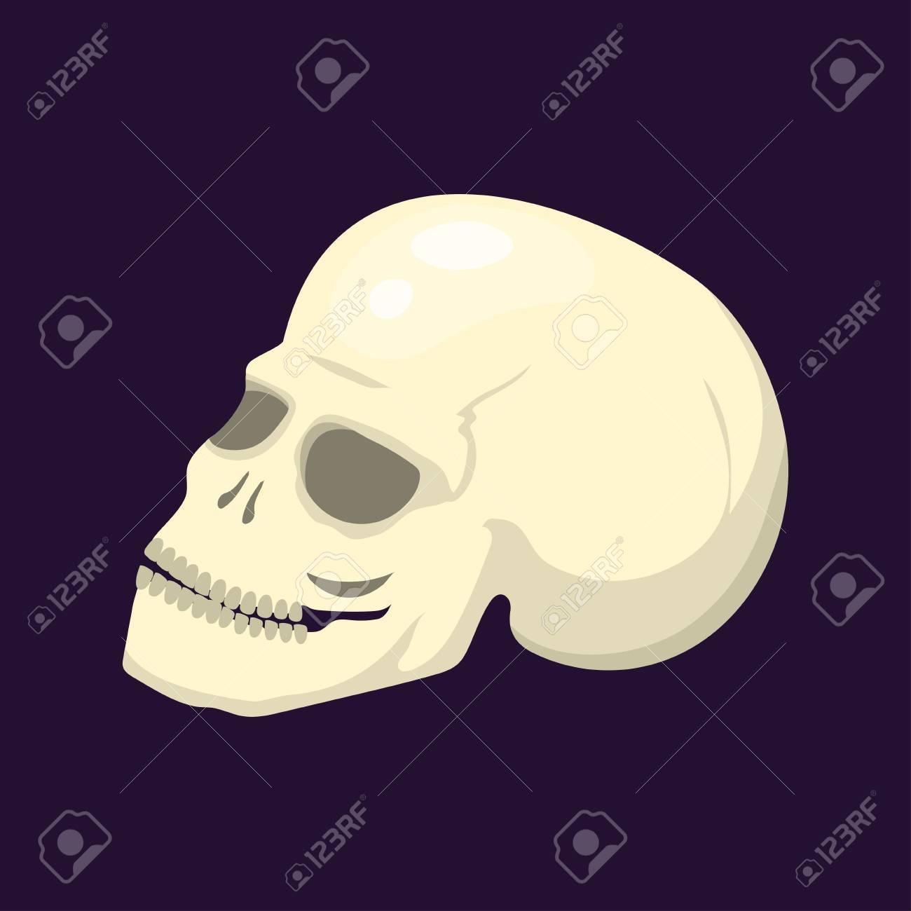 Style Skull Face Halloween Horror Style Tattoo Anatomy Art Cartoon ...