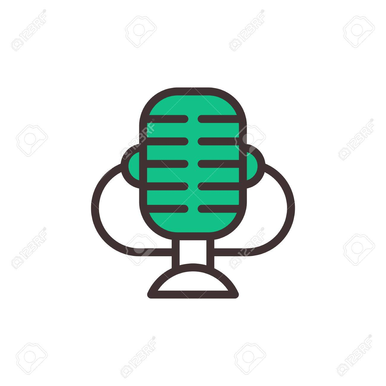 Microphone vector icon isolated interview music TV web broadcasting