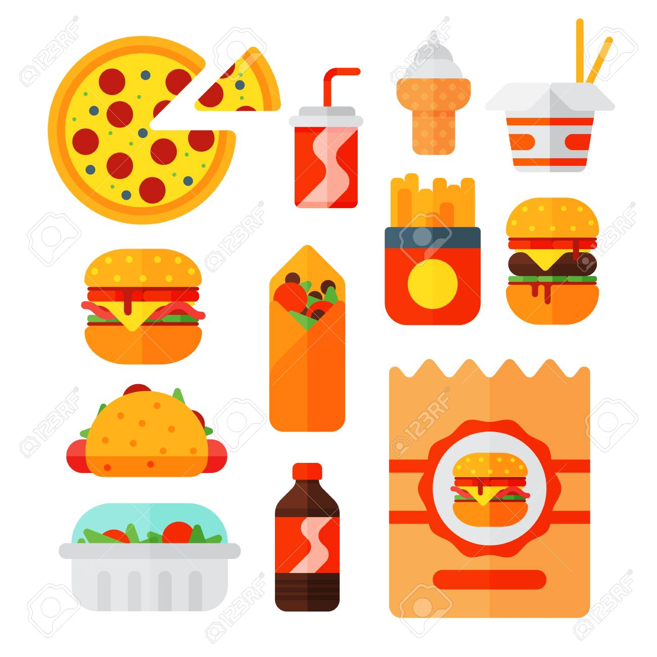 Set Of Colorful Cartoon Fast Food Icons Isolated Restaurant Tasty