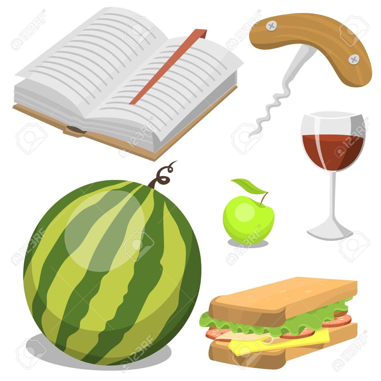 食品リラックス休暇コンテナー ランチ夏食事ベクトル イラスト付きピクニック バスケット