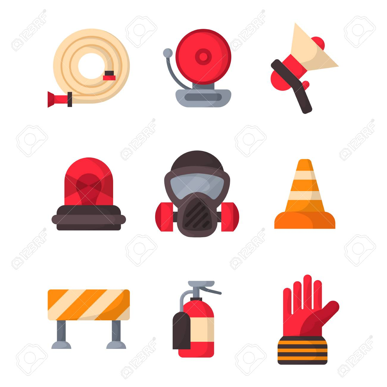 Fire Safety Equipment Emergency Icons Firefighter Symbols Safe