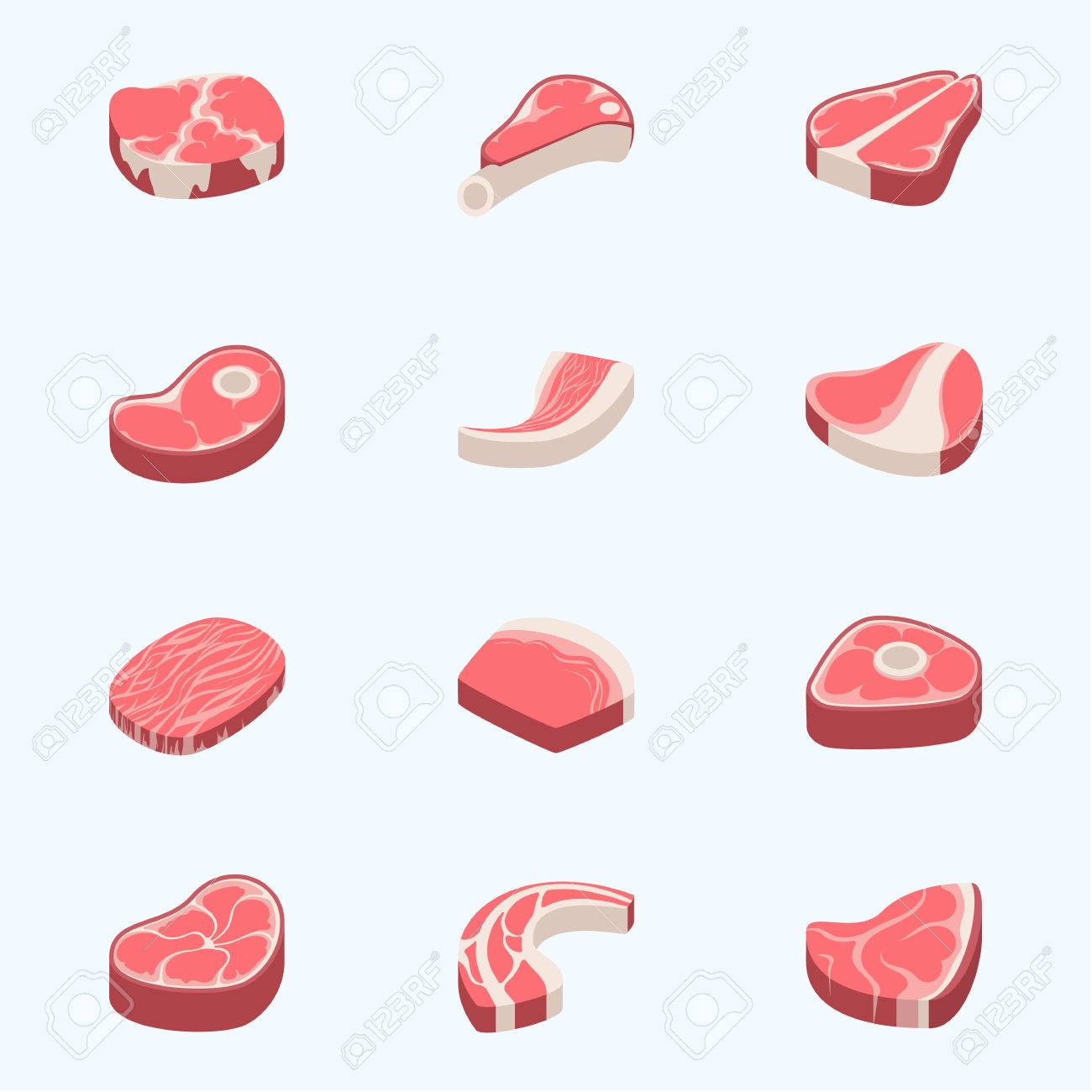Beef steak raw meat food red fresh cut butcher uncooked chop barbecue bbq slice ingredient vector illustration - 78909646