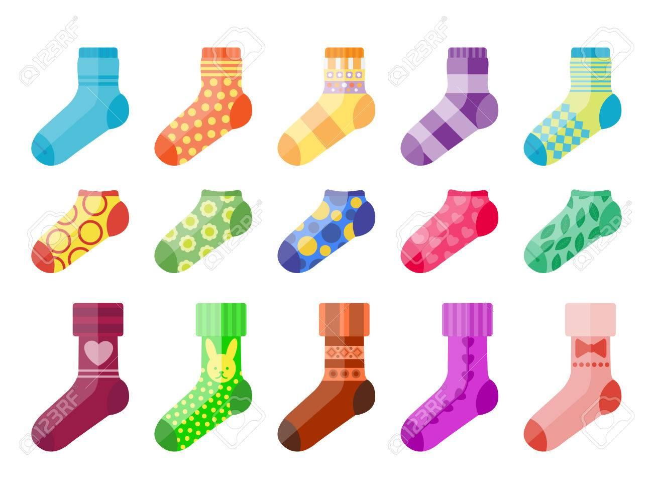Flat design colorful socks set vector illustration selection of various cotton foot warm cloth - 80234660