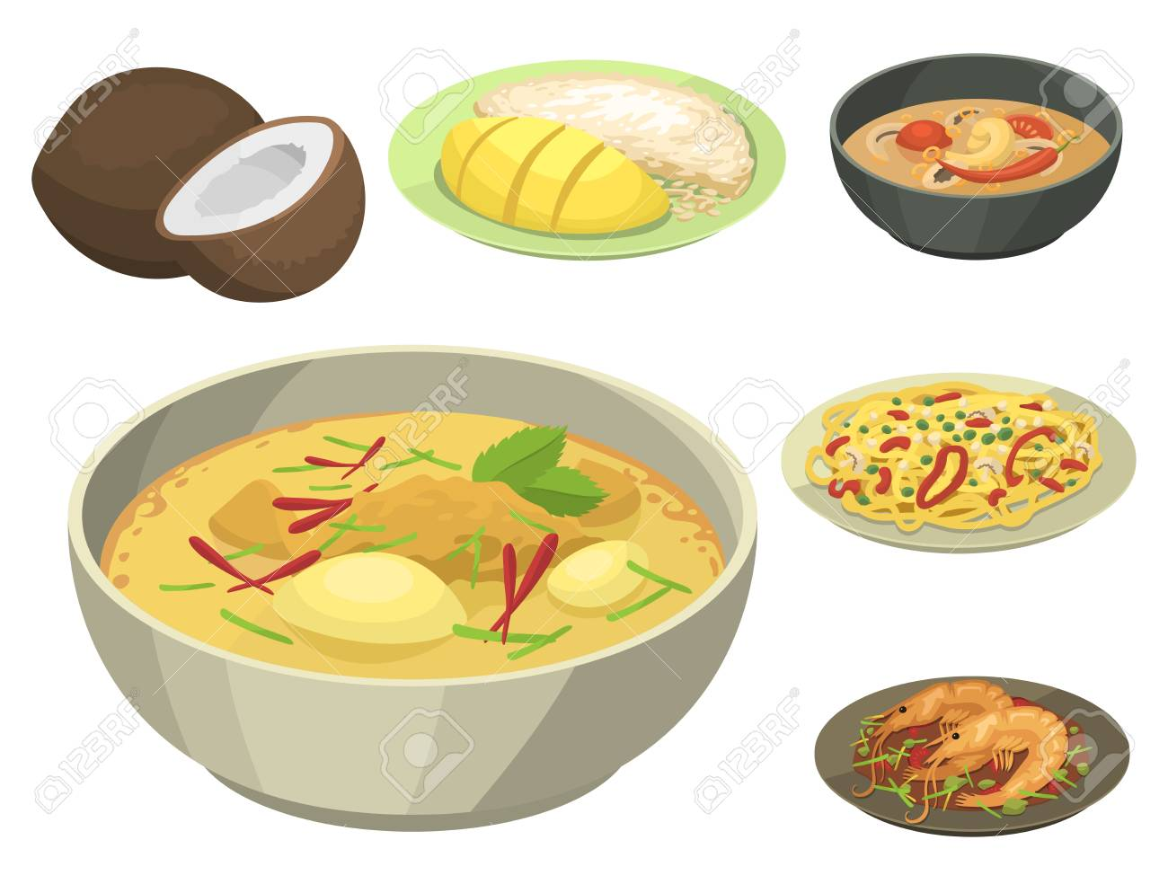 Traditional National thai food thailand asian plate cuisine seafood prawn cooking delicious vector illustration. - 83130334