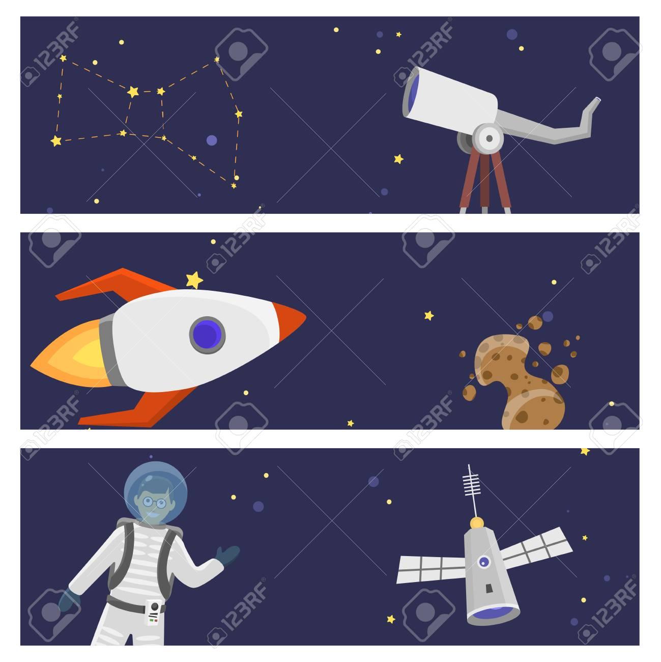 Astronaut Space Landing Card Design Future Exploration Space