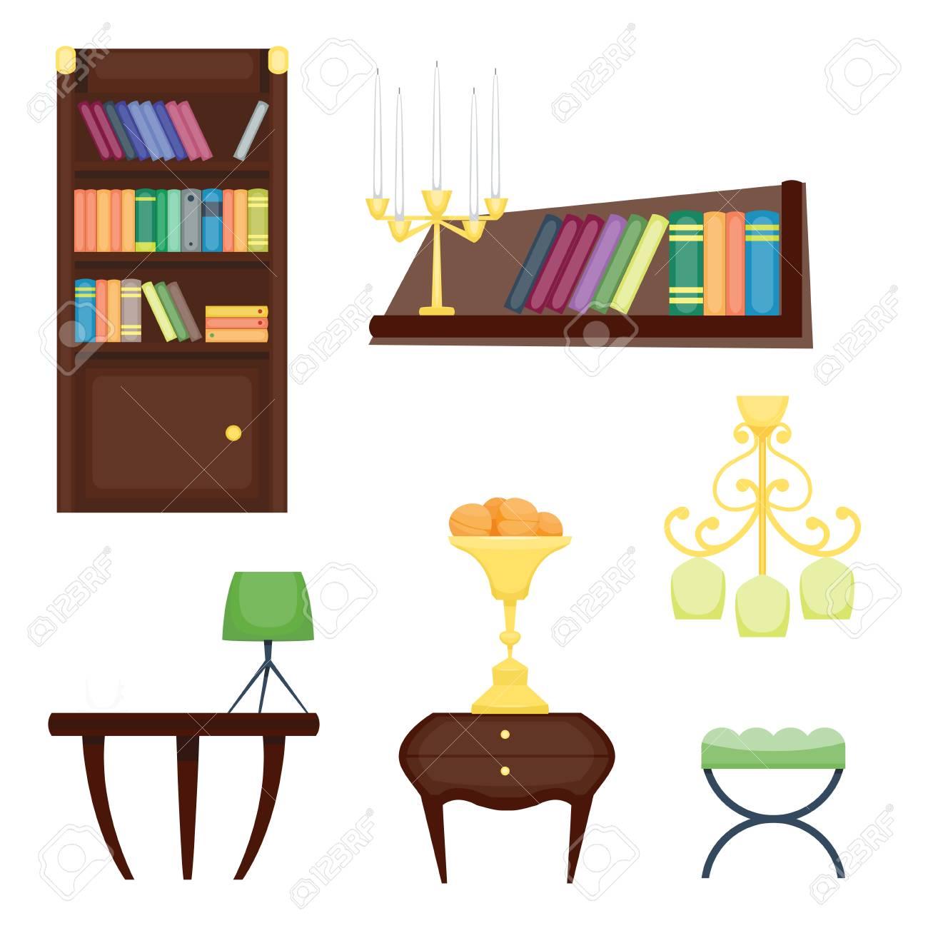 Los Elementos De La Decoración Del Diseño De La Sala De Muebles Y El ...