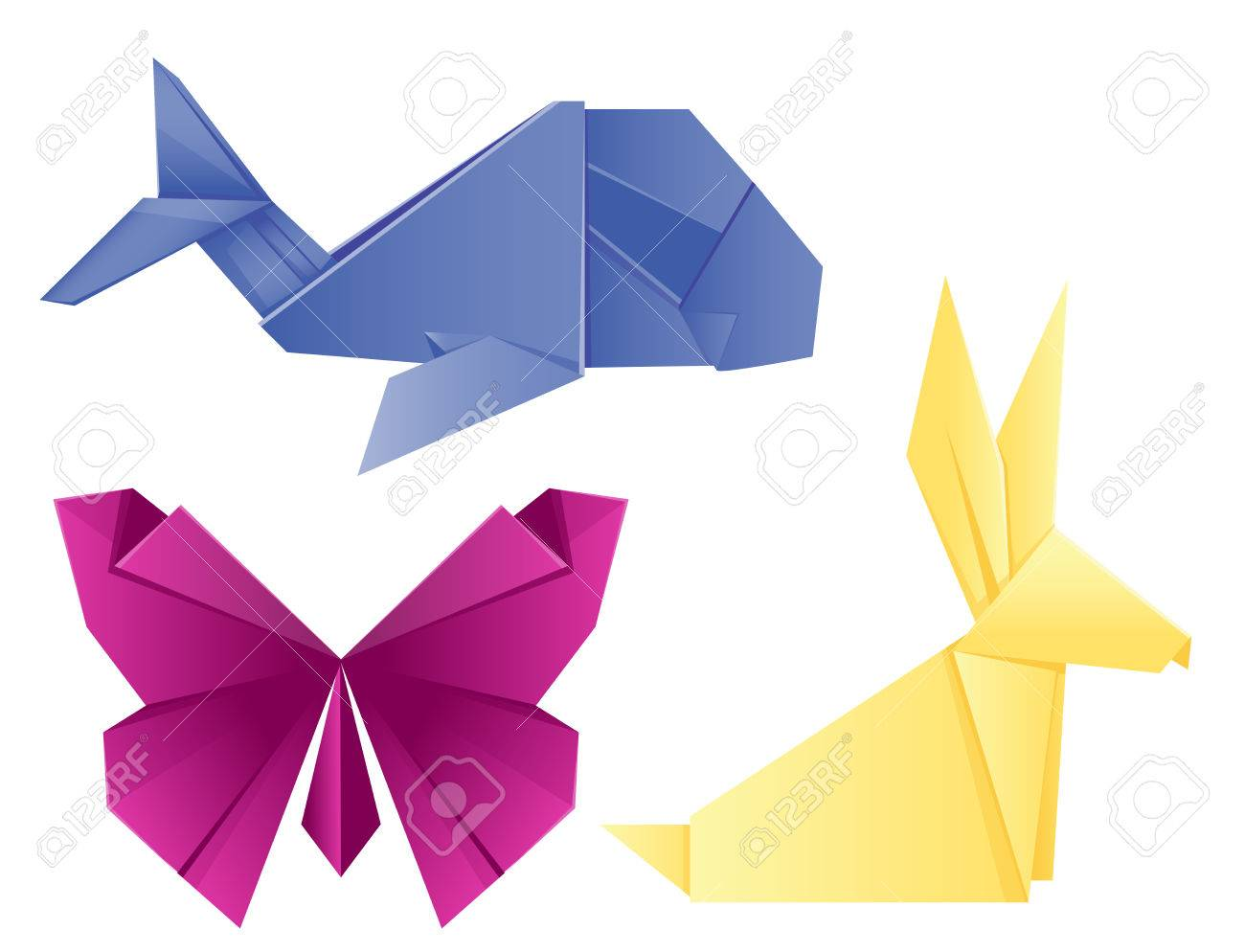 Animals Origami Set Japanese Folded Modern Wildlife Hobby Symbol Creative Decoration Vector Illustration Stock