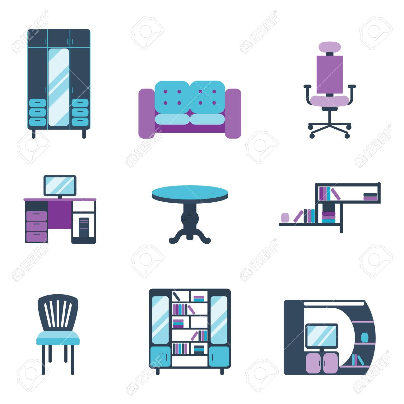 Furniture Interior Icons Home Design Modern Living Room House