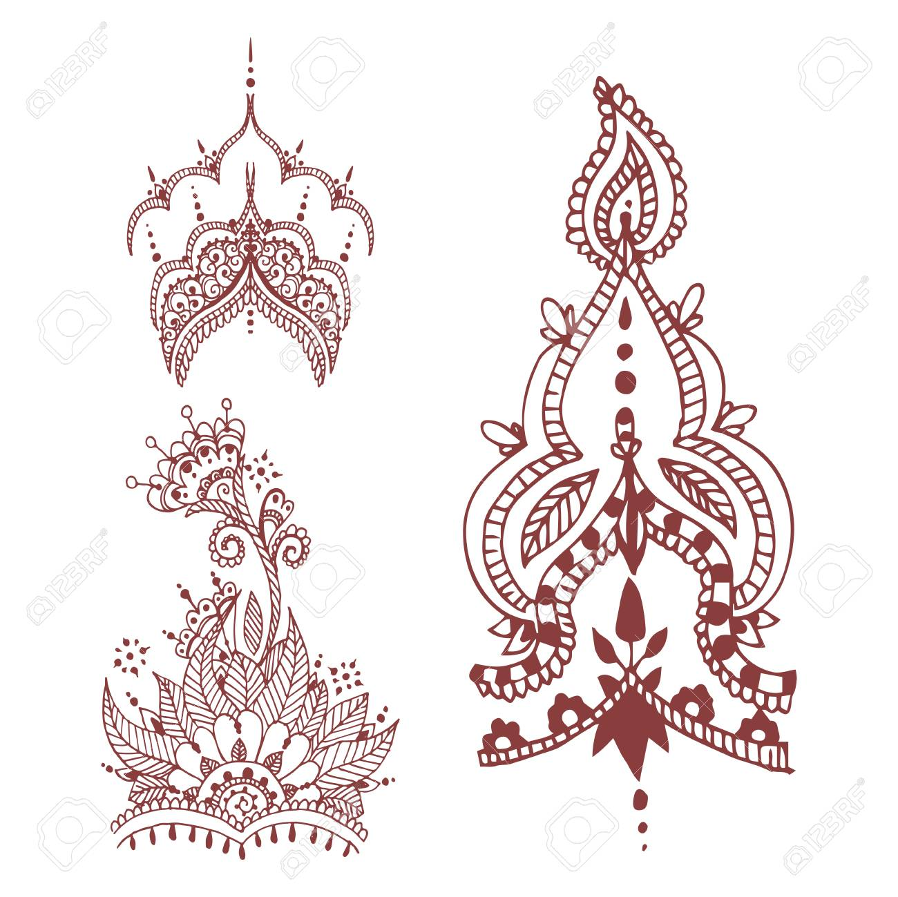857158b86 Henna tattoo brown mehndi flower doodle ornamental decorative indian design  pattern paisley Stock Vector - 83748094
