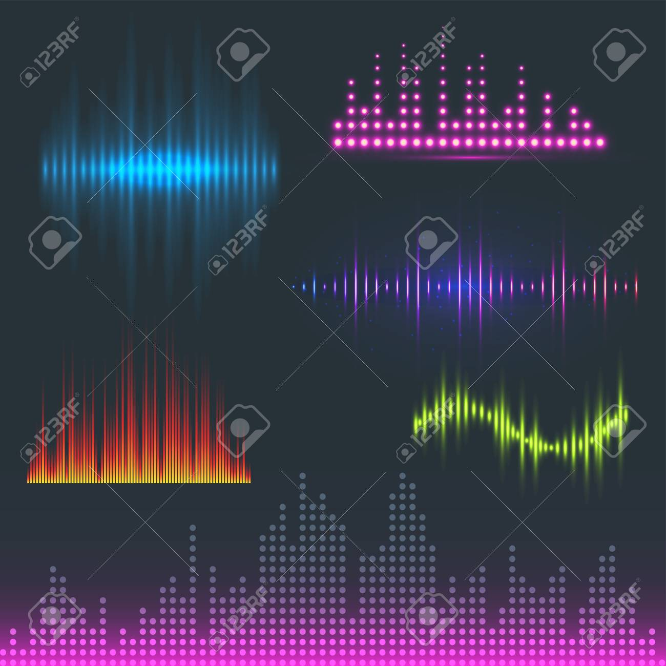 Digital music equalizer audio waves design template audio signal