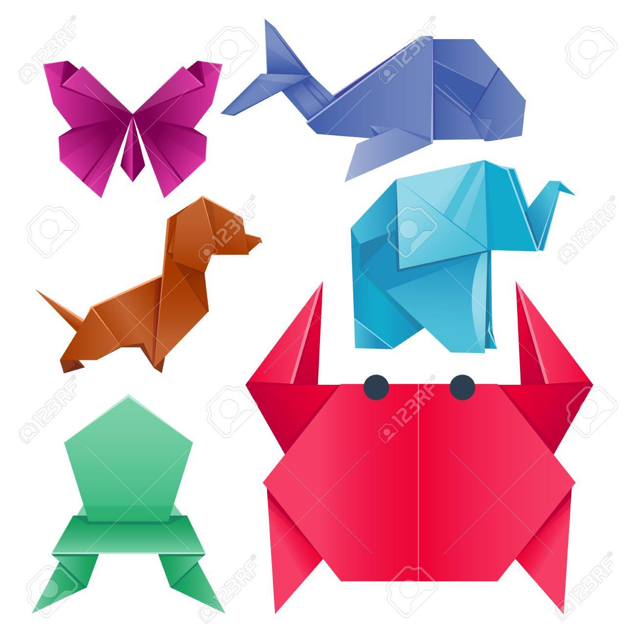 Animals Origami Set Japanese Vector Illustration Royalty Free