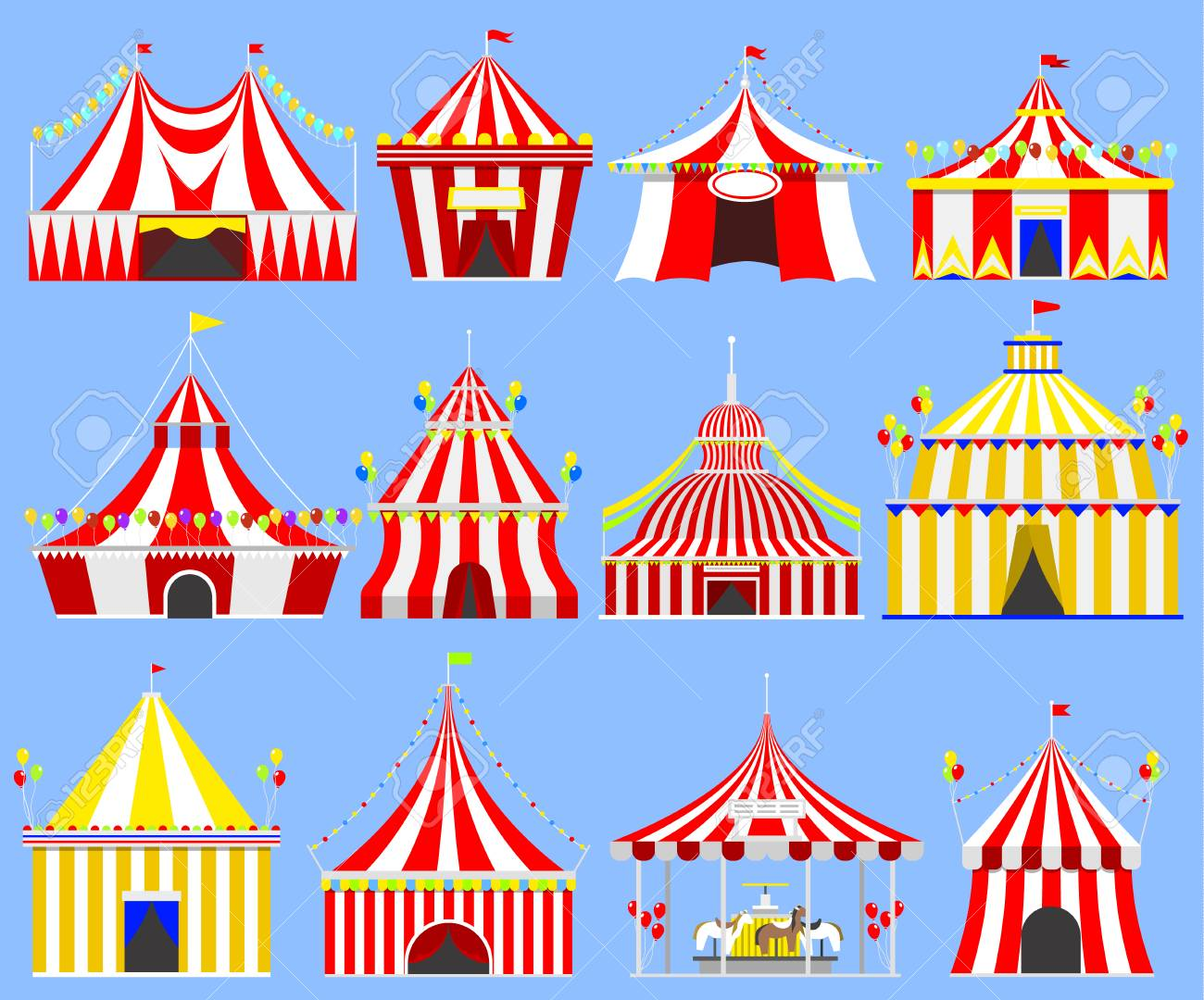 Circus tent marquee marquee with stripes and flags carnival entertainment amusement lelements flat vector. Circus  sc 1 st  123RF Stock Photos & Circus Tent Marquee Marquee With Stripes And Flags Carnival ...