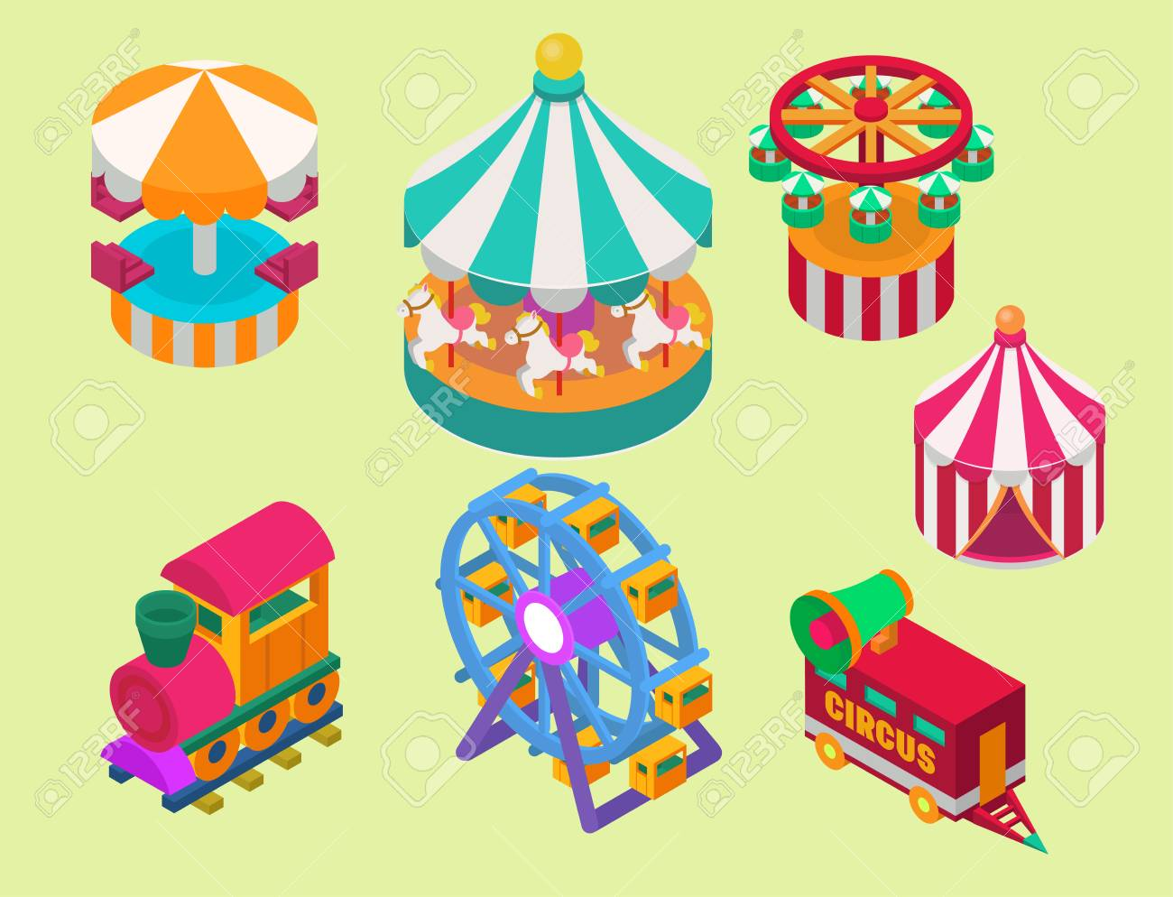 Circus isometric tent marquee with stripes and flags carnival entertainment amusement lelements flat vector. Carnival  sc 1 st  123RF.com & Circus Isometric Tent Marquee With Stripes And Flags Carnival ...