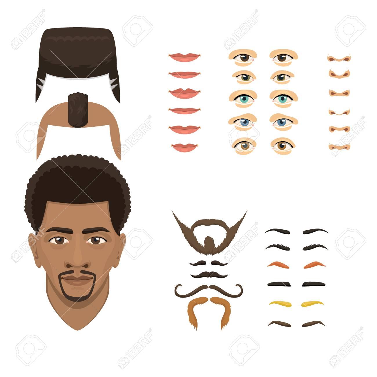 Homem Rosto Emocoes Partes Do Construtor Olhos Nariz Labios