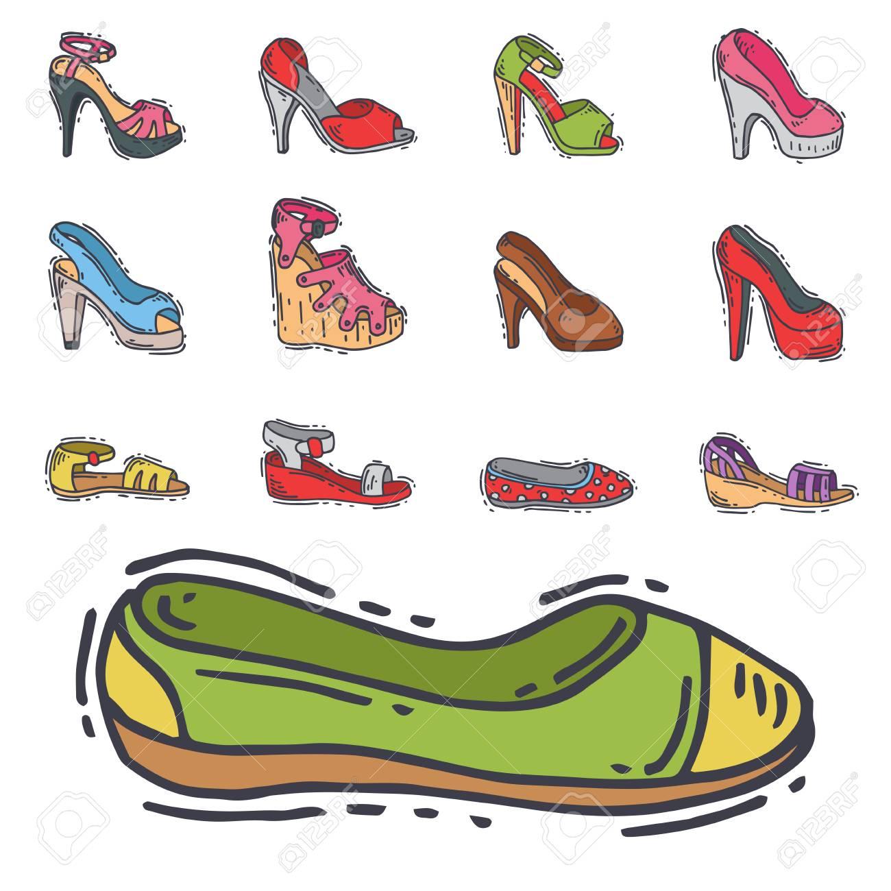 Conjunto de zapatos de la mujer del vector del diseño plano dibujado a mano del calzado de cuero de los zapatos del zapato. ilustración de la costura