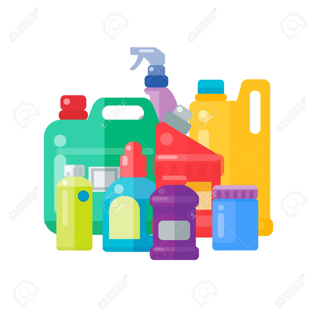 Bottles of household chemicals supplies cleaning housework plastic detergent liquid domestic fluid cleaner pack vector illustration. - 88087661