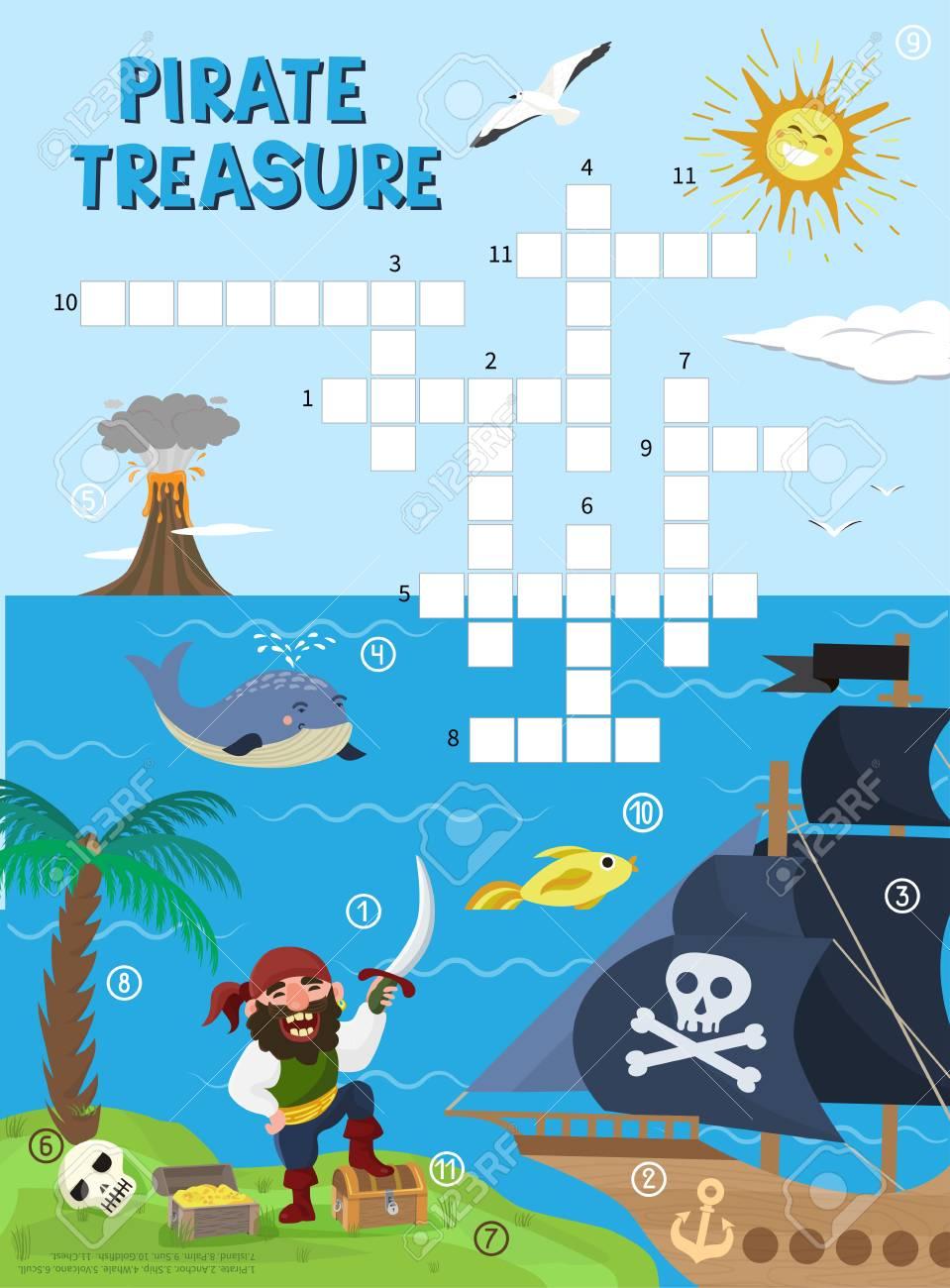 Piratenschatz Abenteuer Kreuzworträtsel Lizenzfrei Nutzbare