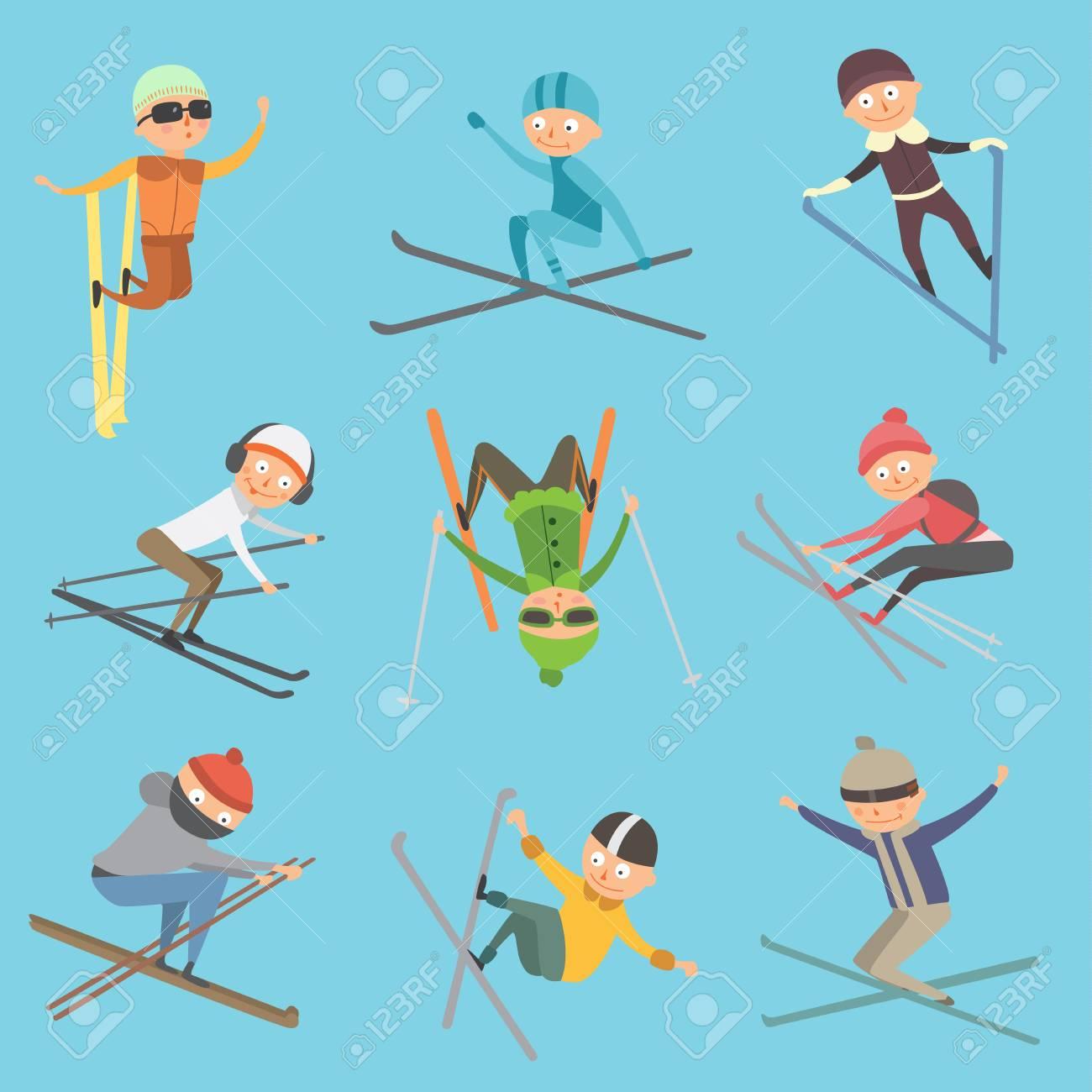 スキーの人々 のトリックはベクトル イラストですのイラスト素材