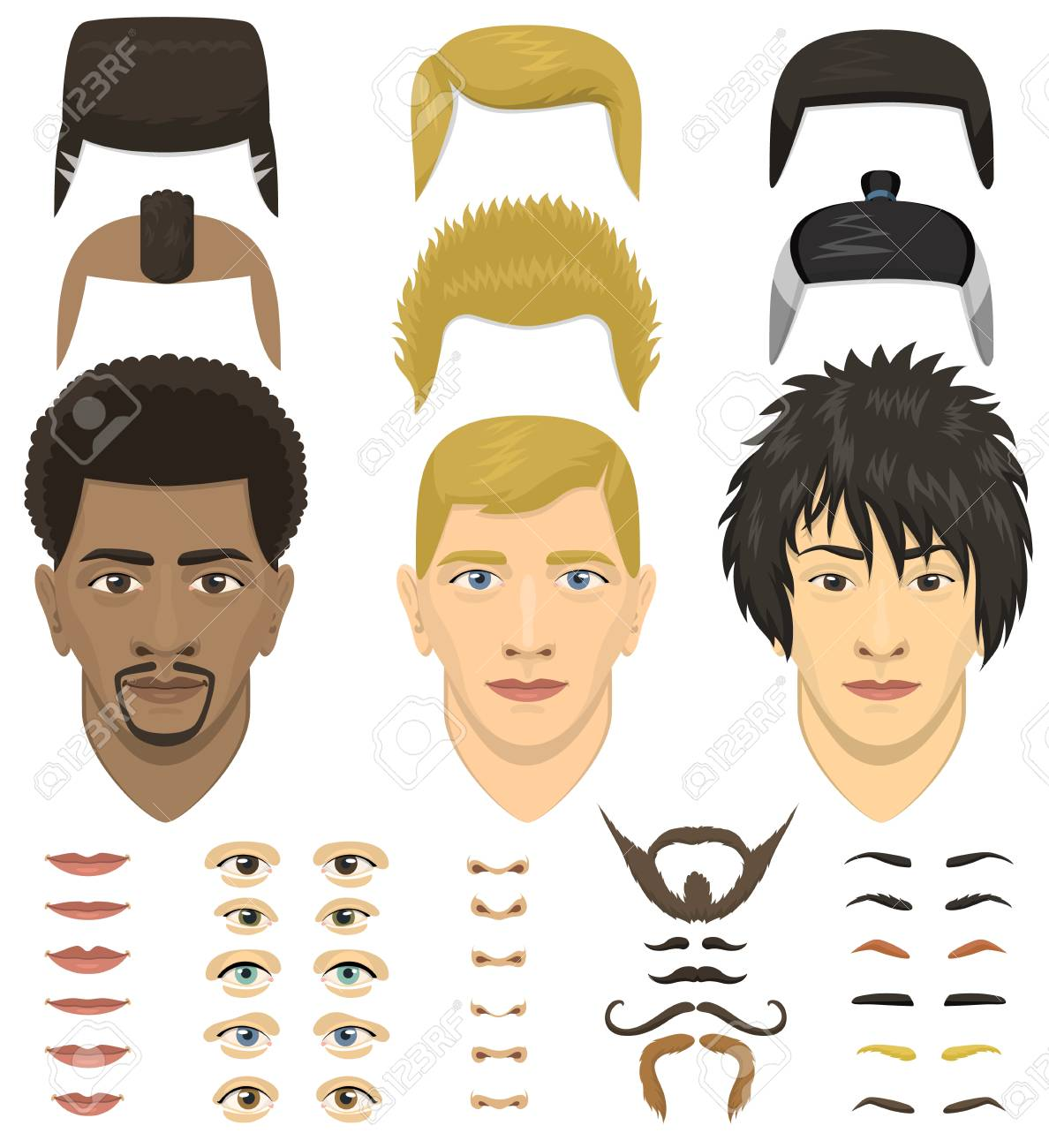 Man face portrait emotions constructor elements eyes, lips, beard, mustache avatar icon creator vector illustration. - 90157373