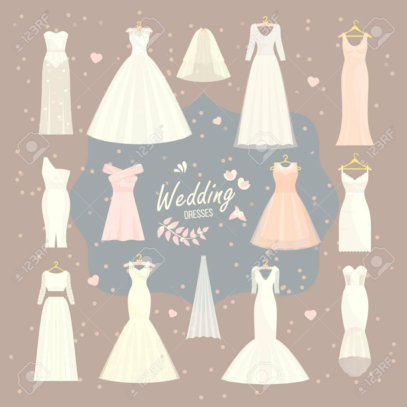 Wedding Dress Accessories.Stock Illustration