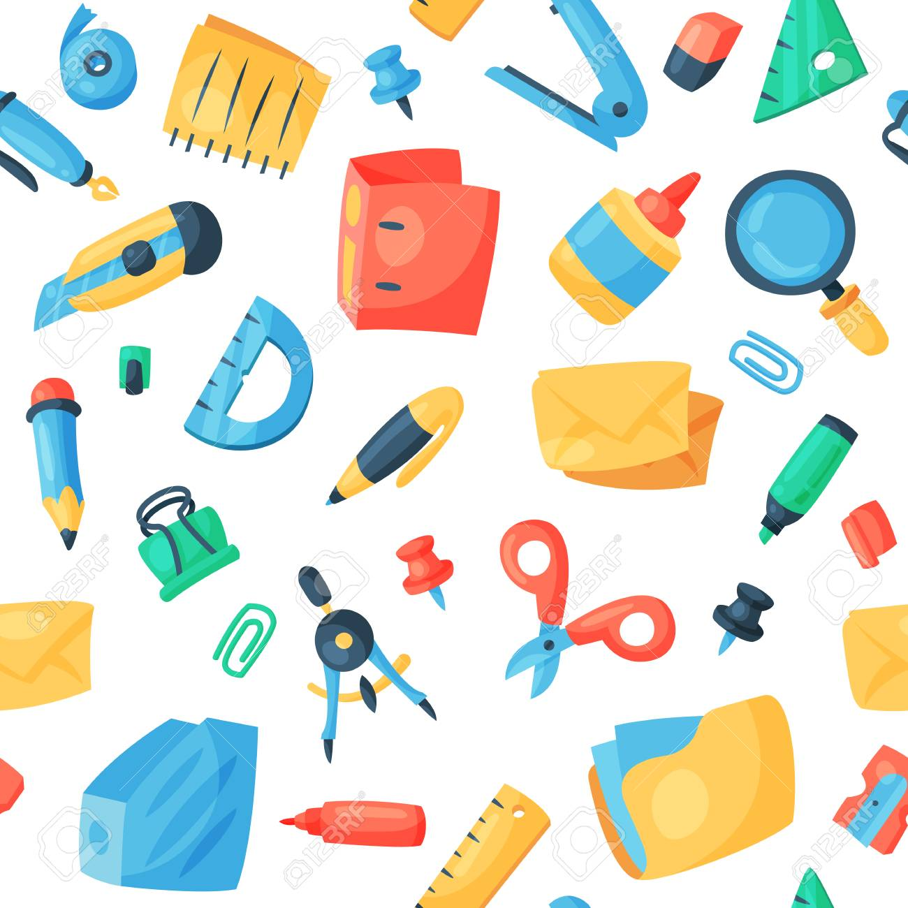 Stationery icons office supply vectorschool tools and accessories set education assortment pencil marker pen isolated on white background seamless pattern background. - 91089400