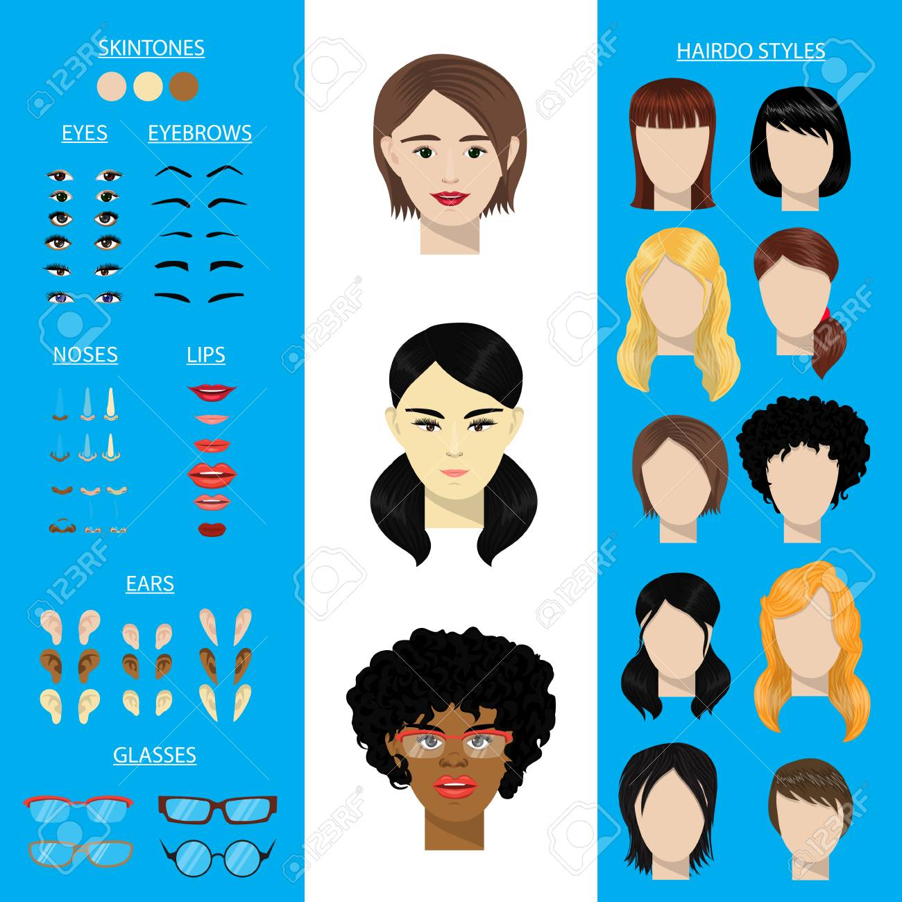 Woman face constructor vector set female character avatar creation