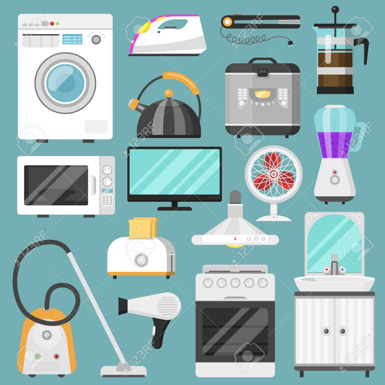 Electronic Household Appliances Vector Kitchen Homeappliance.. Stock ...
