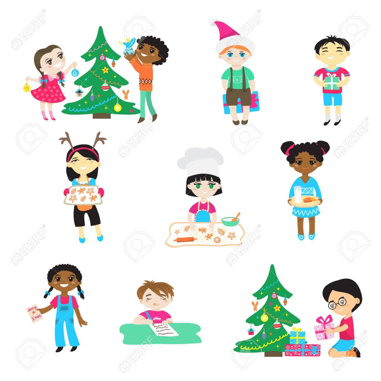 Kinder Auf Weihnachten Vektor Zeichentrickfiguren Jungen Und Mädchen ...