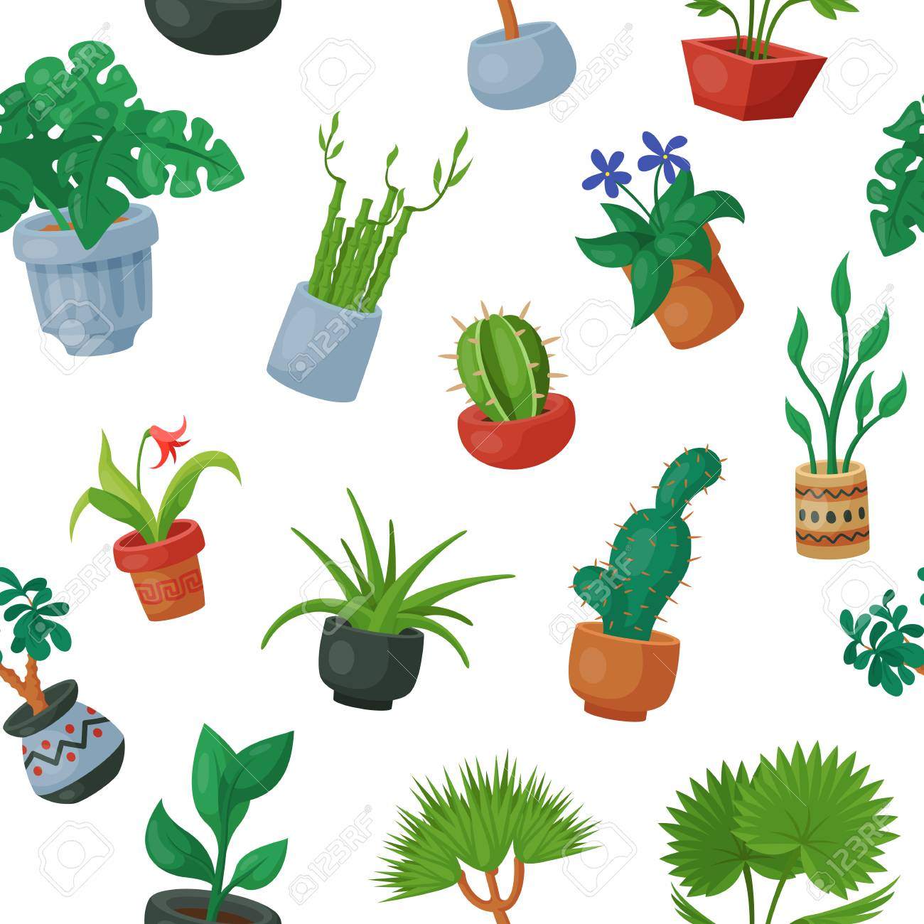 Home Plants In Flowerpots Vector Potted Flowery Houseplants For