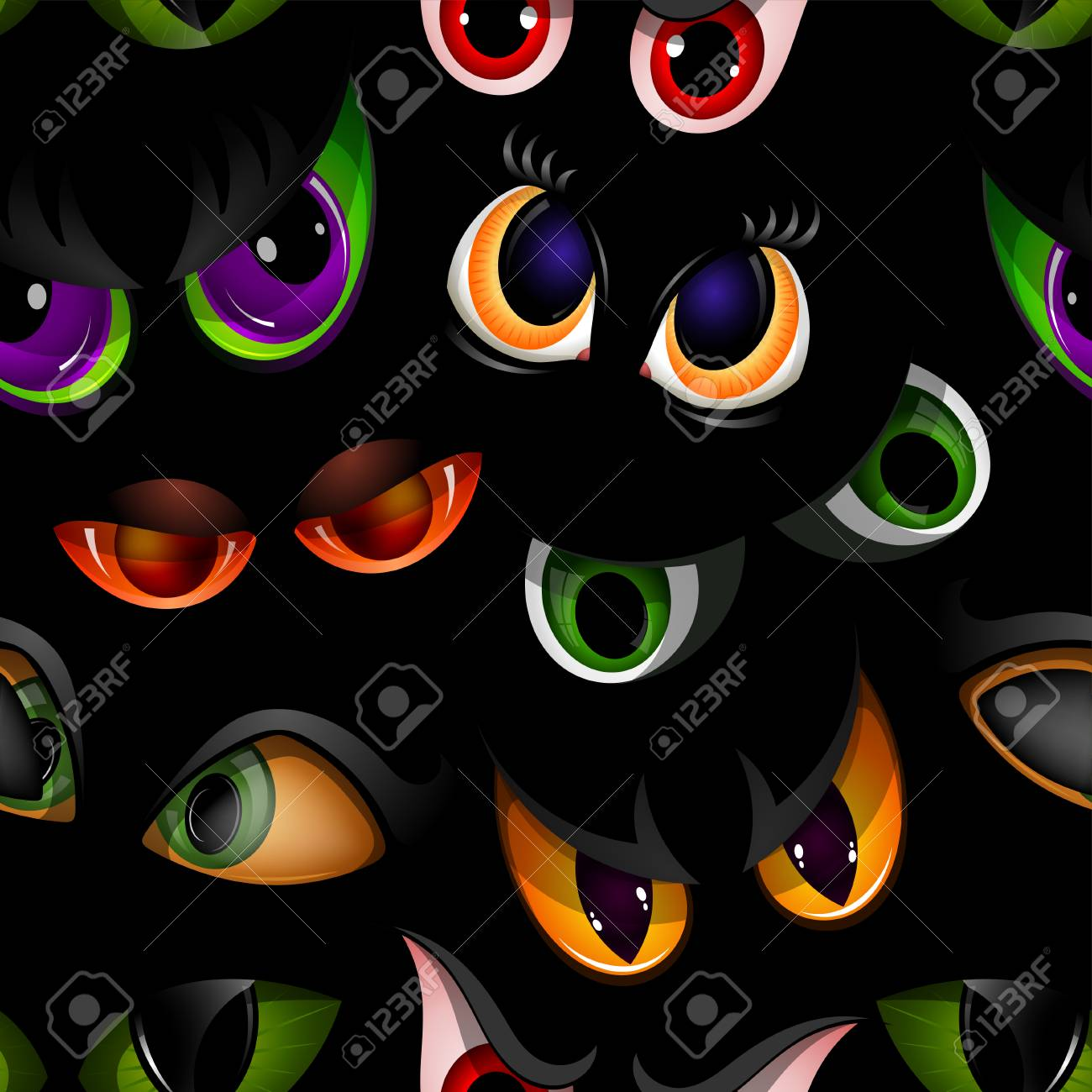 Cartoon vector eyes beast devil monster animals eyeballs of angry or scary expressions evil eyebrow and eyelashes on face scared snake or dracula vampire animal eyesight seamless pattern background. - 96069127