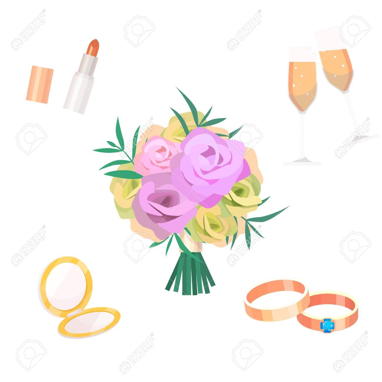 Flowers Bouquet Vector Wedding Bride Accessoriesvfashion Style