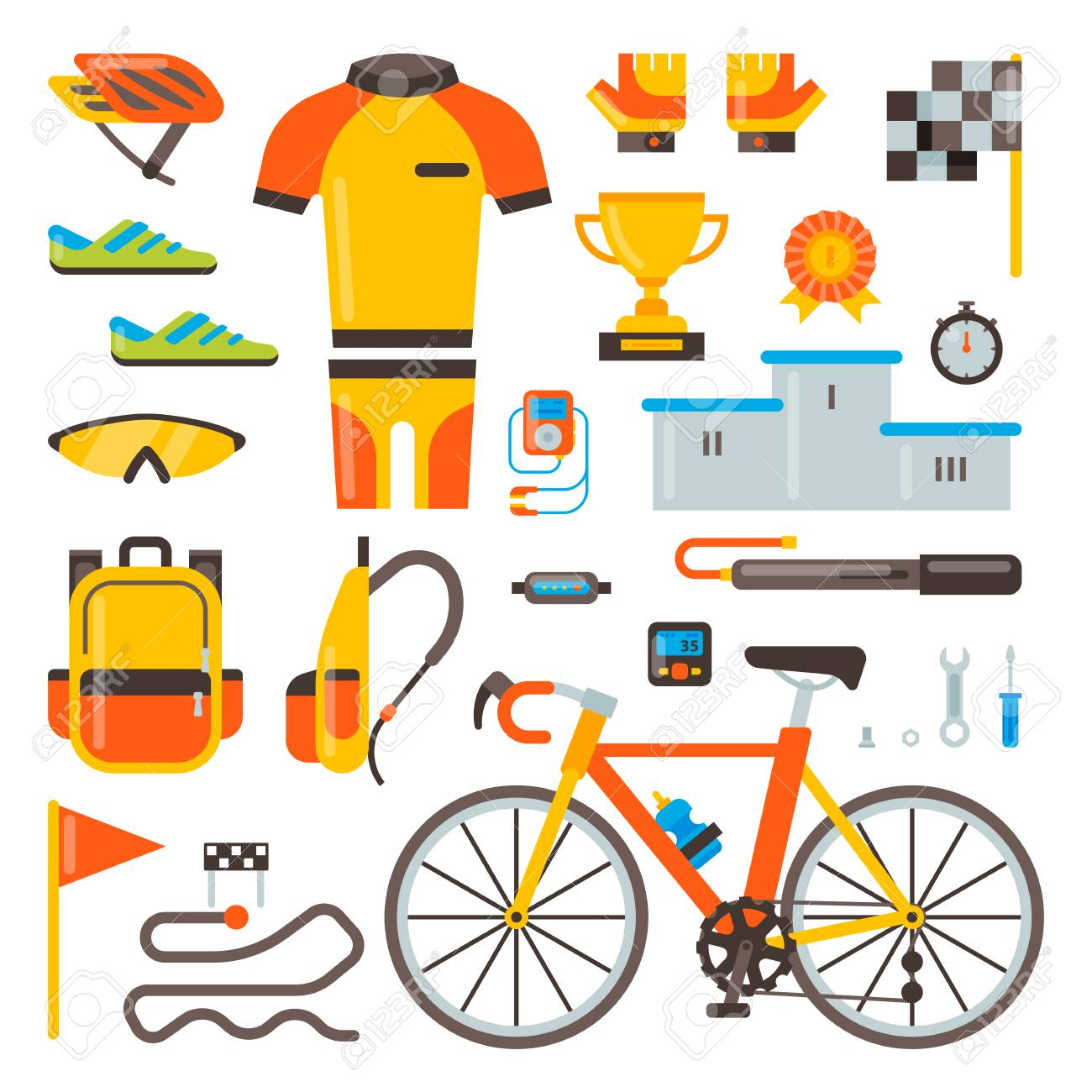 Cycling on bike vector bicycle accessories of biker or cyclist in sports wear  clothes with helmet b840d49d4