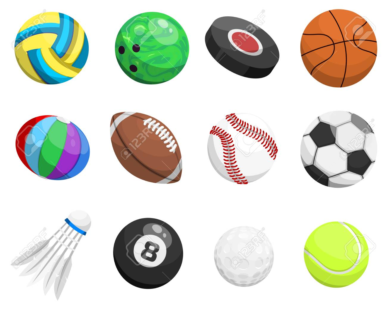 Sport Balls Vector Isolated On White Background Collection Tournament Win Round Basket Soccer Equipment Recreation
