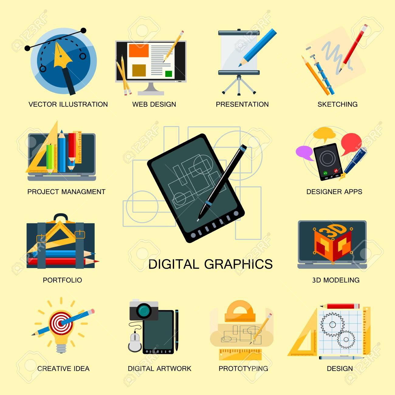 Creativity Icons Imagination Vector Illustration Abstract Colorful Flat Creative Process Design Development Elements Stock