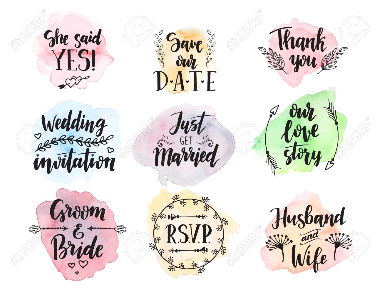 Wedding day marriage proposal phrases text lettering invitation banco de imagens wedding day marriage proposal phrases text lettering invitation cards calligraphy hand drawn greeting love label romantic vector stopboris Choice Image