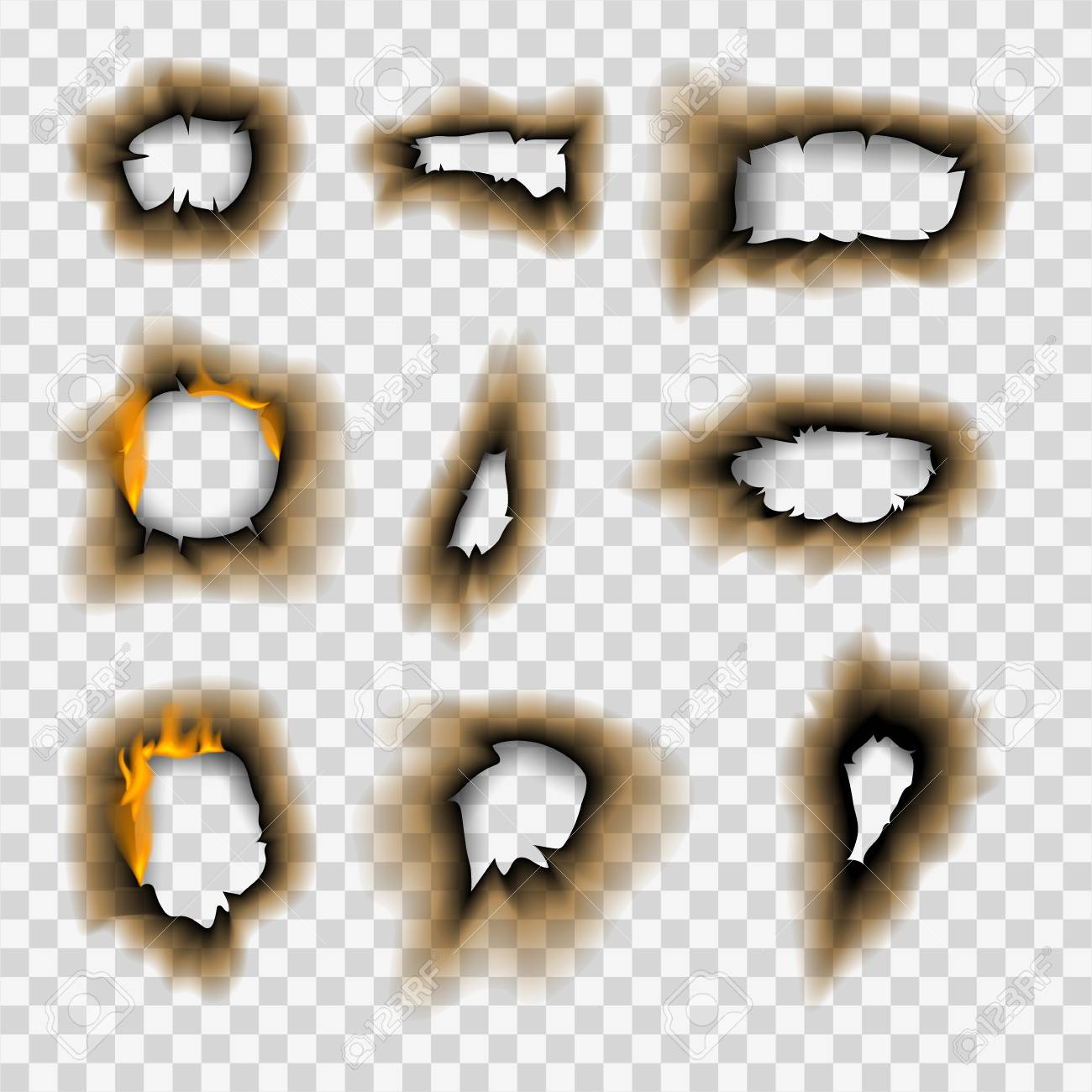Burnt piece burned faded paper hole realistic fire flame isolated page sheet torn ash vector illustration - 101107707