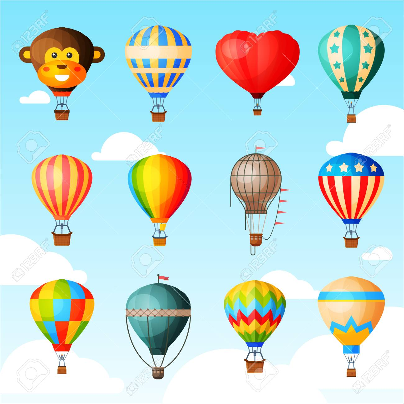 Balloon vector cartoon air-balloon or aerostat with basket flying in sky and ballooning adventure flight illustration set of ballooned traveling isolated on background - 102691163