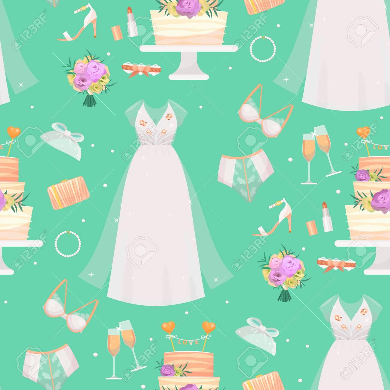 db6fedba508 Vector - Wedding bride dress accessories vector fashion style bridal shower  sketch accessory decor cartoon silhouette portrait illustration