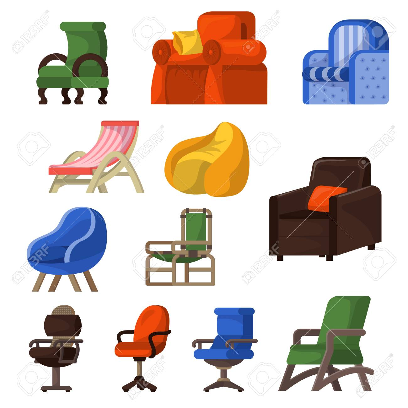 Chair vector comfortable furniture armchair and seat design in furnished apartment interior illustration set of business office-chair or easy-chair isolated on white background. - 111746292