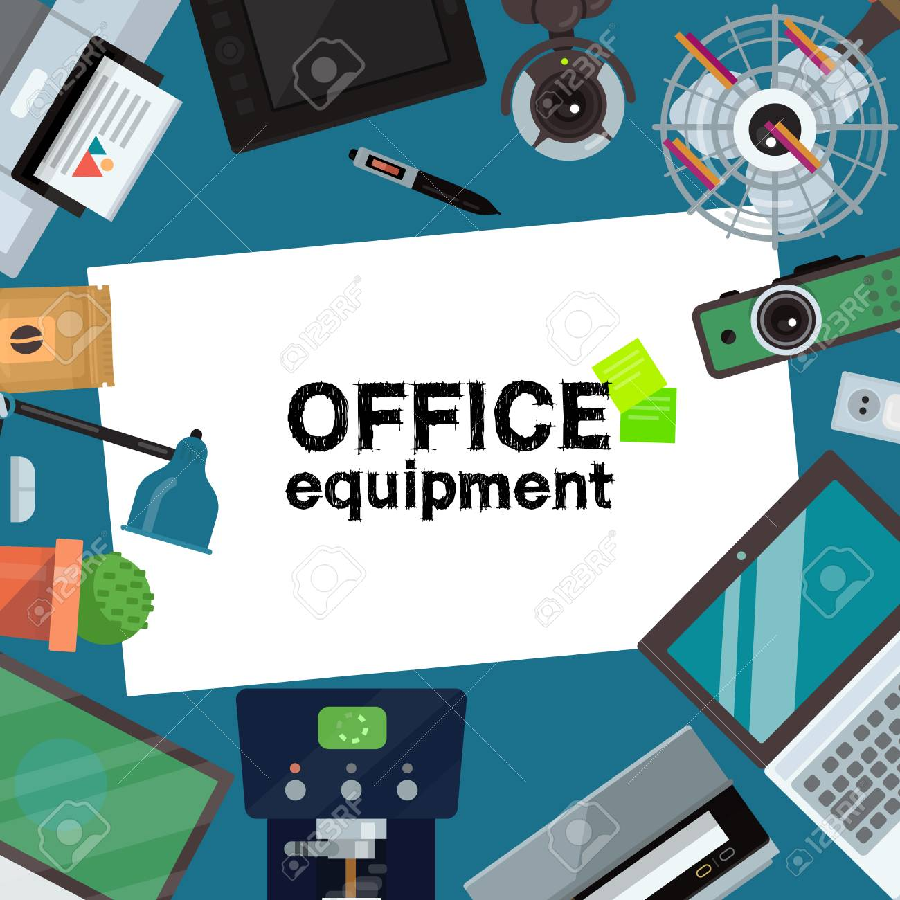 office equipment banner, poster vector illustration. gadgets.. royalty free  cliparts, vectors, and stock illustration. image 125910286.  123rf