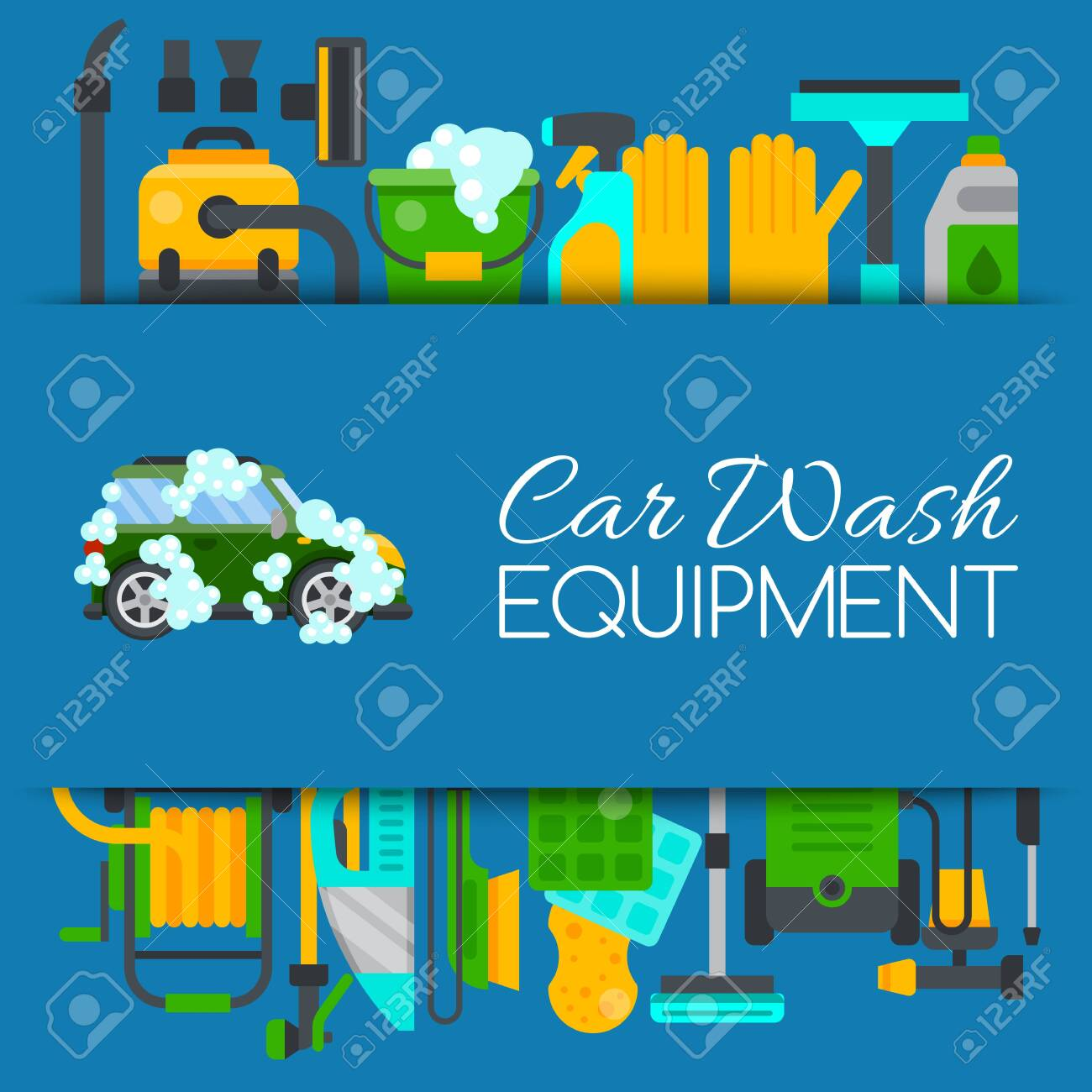 Car Wash Banner Water Transport Cleaner Background Vector