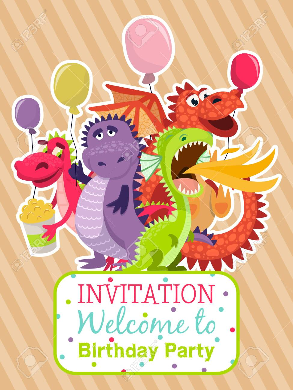 Baby dragons poster, invitation card vector illustration . Cartoon funny dragons with wings. Fairy dinosaurs with pop corn and baloons. Welcome to birthday party. Dragon breathing fire. Celebration. - 124132872