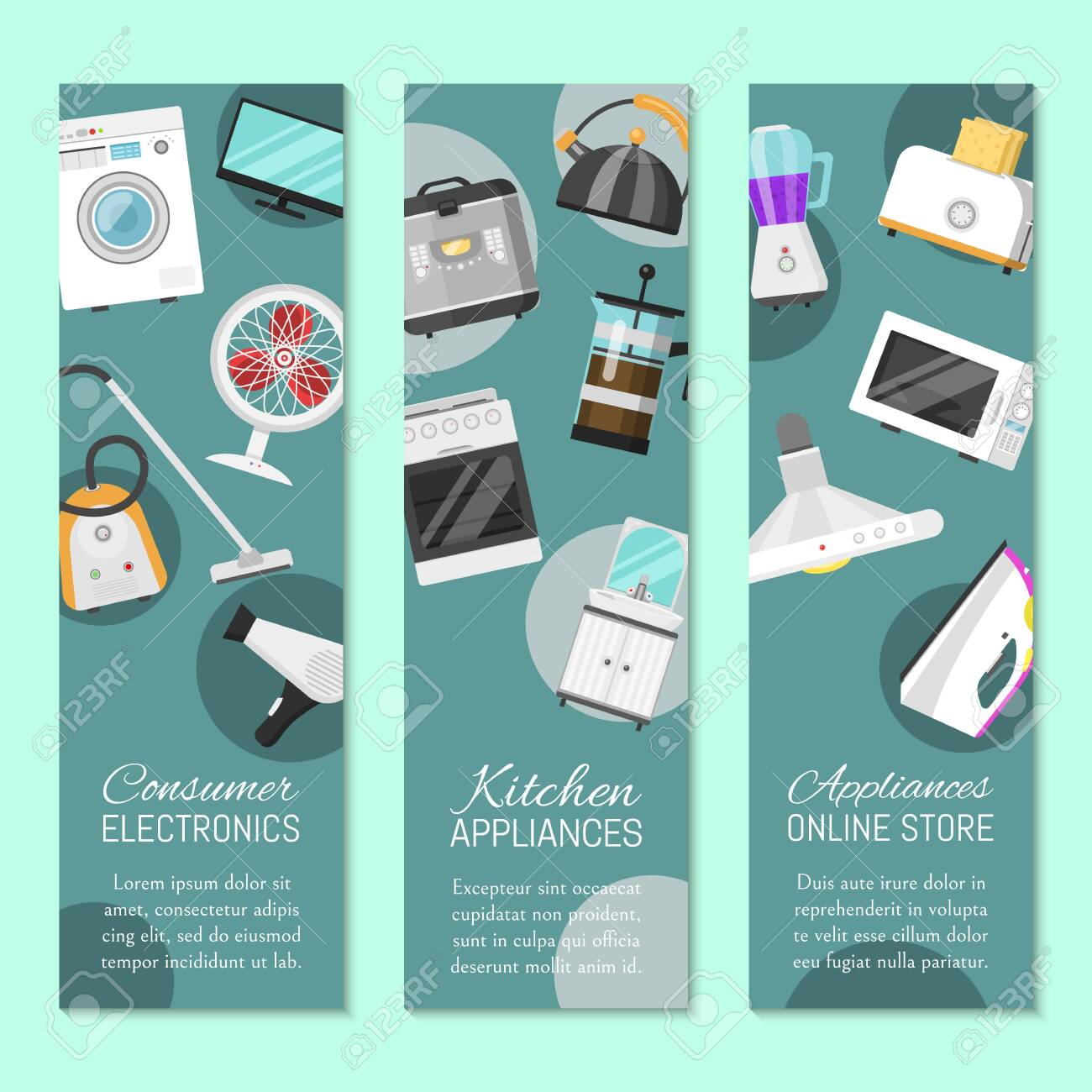 Electronic Household Appliances Set Of Banners Vector Illustration