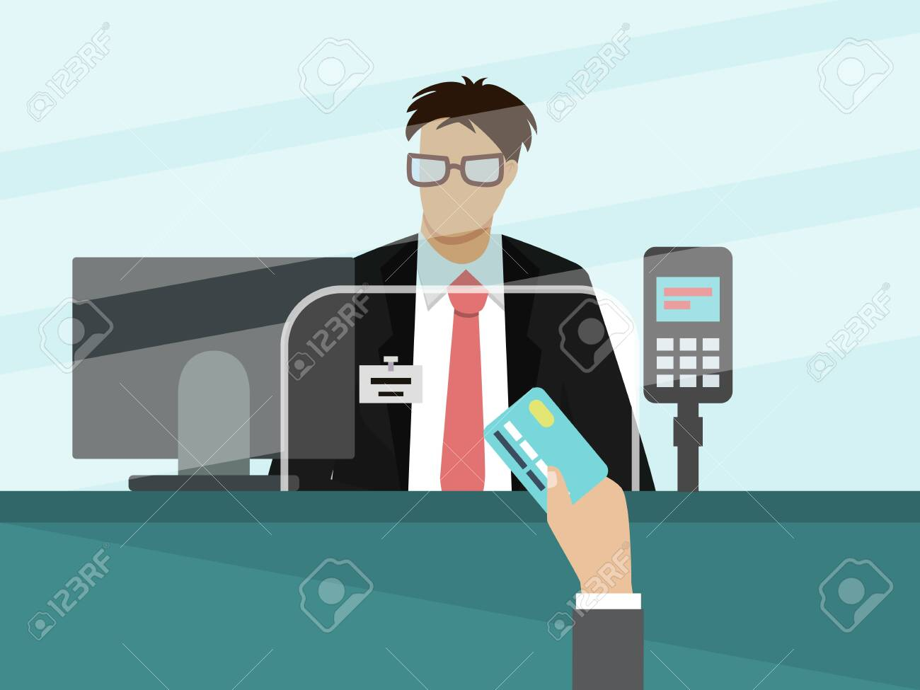 Bank cashier teller behind window vector illustration. Businessman hand with bank card for payment in front of glass. - 131721797