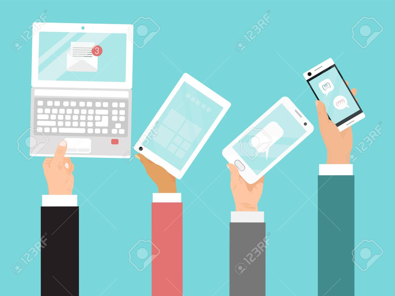 Hands holding different devices vector illustration. Business internet communications by laptop, mobile phone and tablet. - 138170366