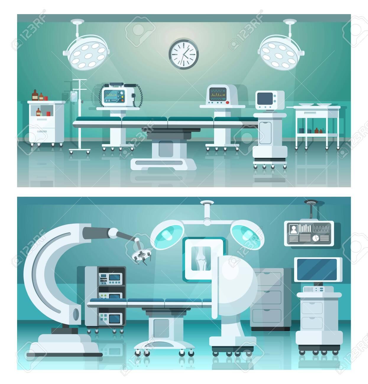 Hybrid operating isometric medicine hospital operating rooms on medical vector illustration. - 142569141