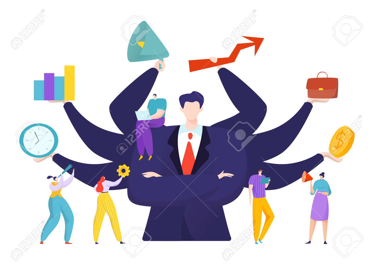 Virtual business assistant for people achievement concept, vector illustration. Advance analytics and balance. Man with many hands - 157347853