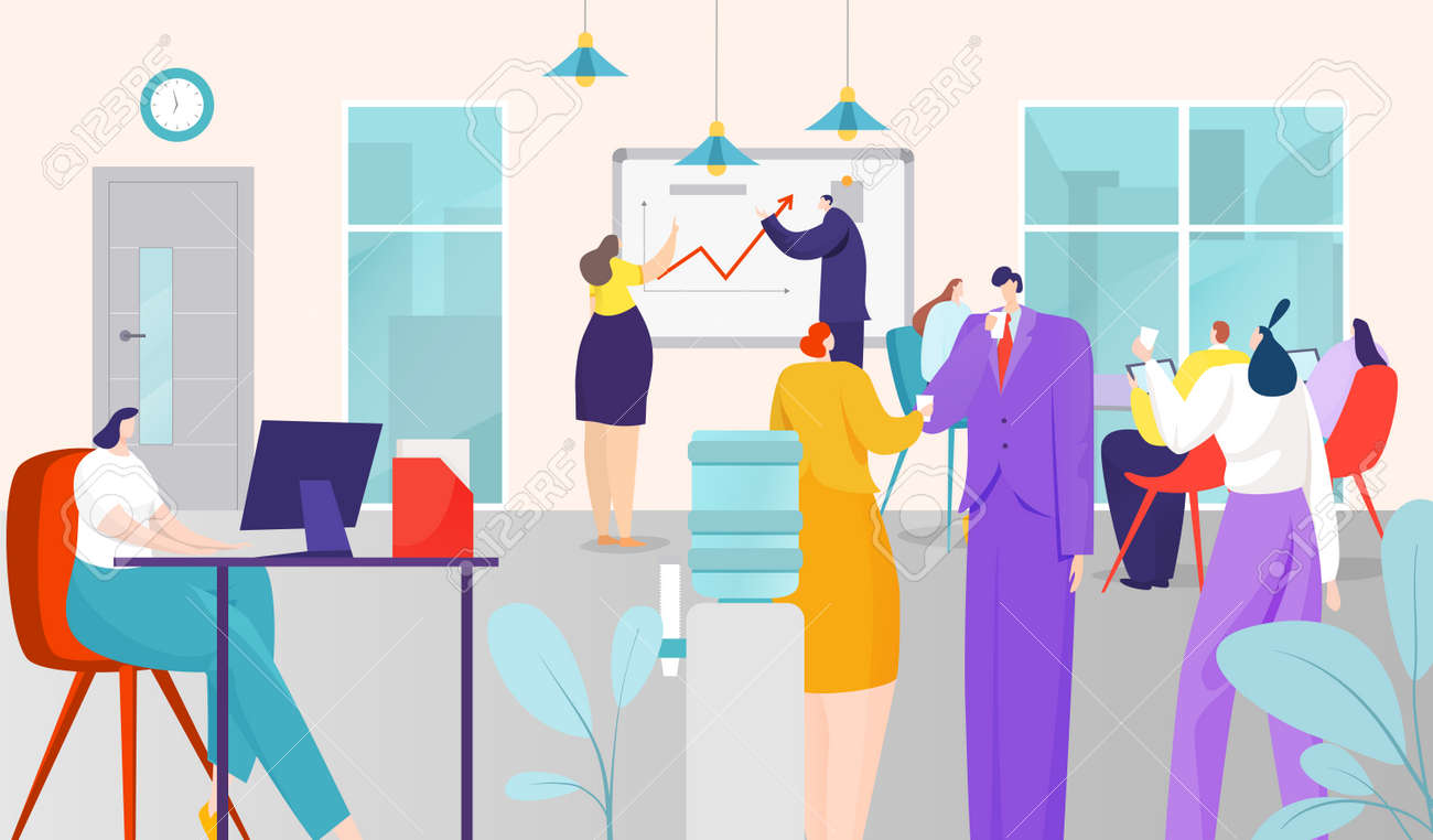 Business people work in office, vector illustration. Coworking team space, job workplace with computer. Man woman character - 158281864