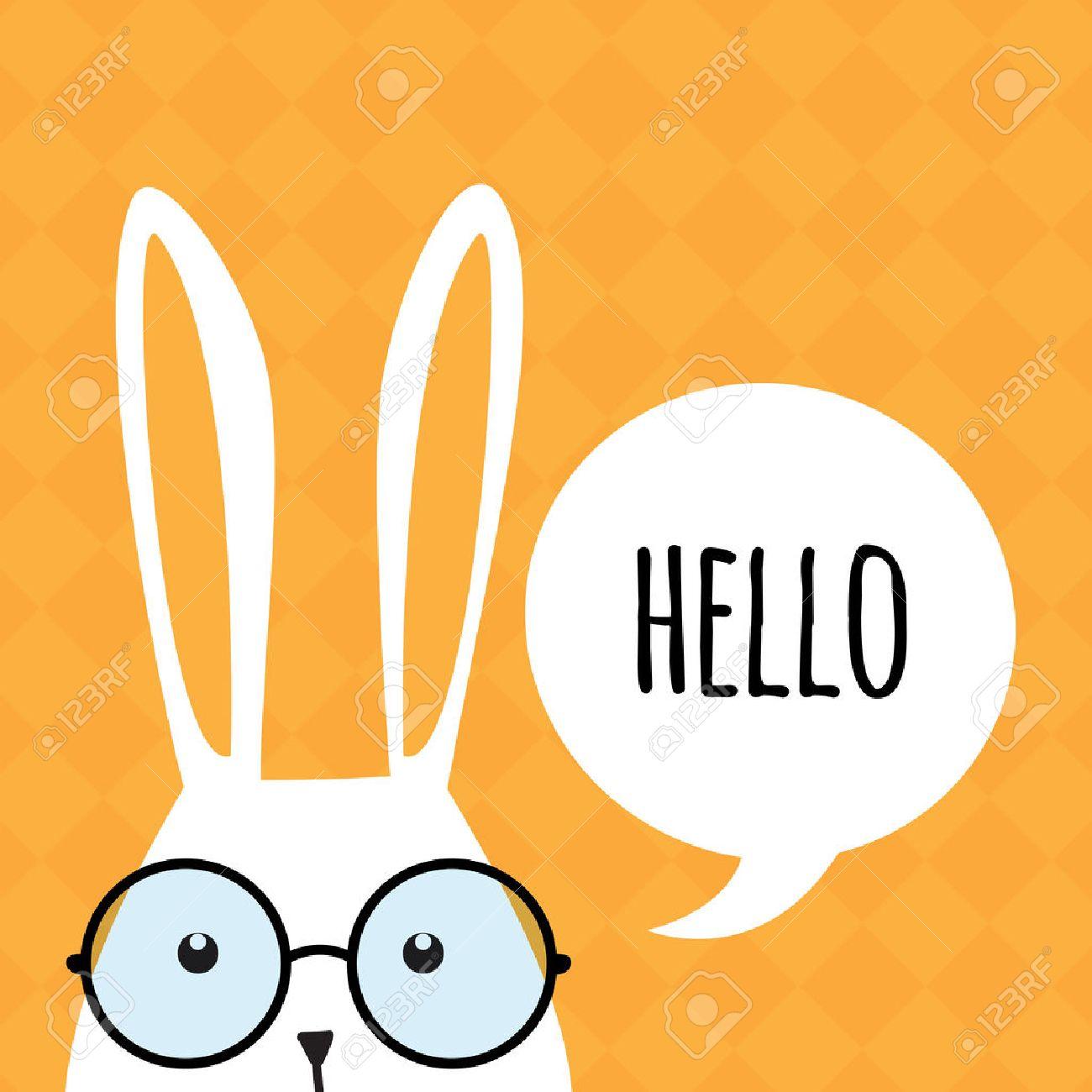 Carte de voeux avec de blanc lapin de Pâques. Funny bunny. Lapin de Pâques. Banque d'images - 36776240