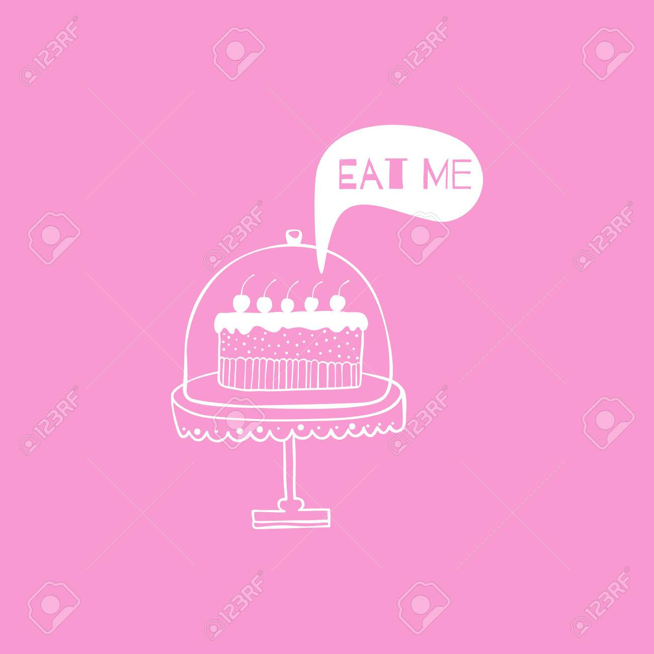 Vector Greeting Cardposter With Cake Hand Drown Illustration